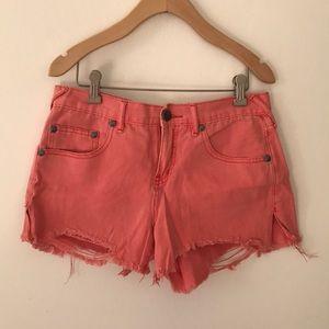 Free People pink denim shorts